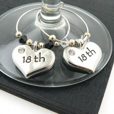 18th Heart Wine Glass Charms