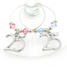 25th Silver Wedding Wine Glass Charms
