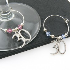 30th Wine Glass Charms