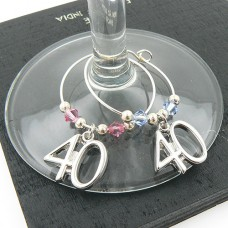 40th Wine Glass Charms