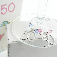50th Wine Glass Charms