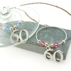 60th Wine Glass Charms