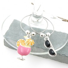 Beach Holiday Wine Glass Charms - Set of 6