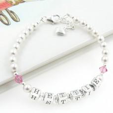 Silver Name Bracelet with Swarovski® Birthstone