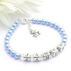 Boys Name Bracelet with Sterling Silver Teddy Charm