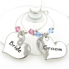 Bride and Groom Wine Glass Charms with Crystals
