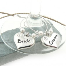 Swarovski® Pearl Decorated Bride and Groom Wine Glass Charms