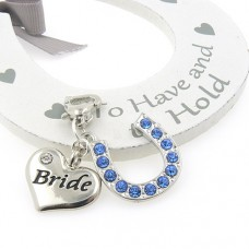 Bride Heart and Horseshoe Garter Charm