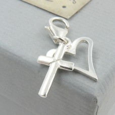 Sterling Silver Heart and Cross Charm