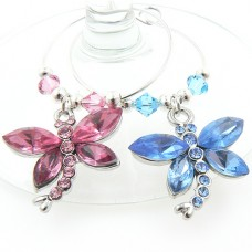Crystal Dragonfly Wine Glass Charms