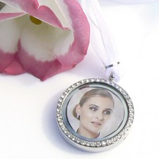 Crystal Picture Frame Bouquet Charm for 2 Photos