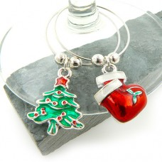 Enamel Christmas Wine Glass Charms - Set of 6