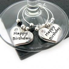 Happy Birthday Heart Wine Glass Charms