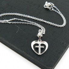 Heart and Crystal Cross Necklace