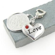 Love Heart and Sixpence Garter Charm