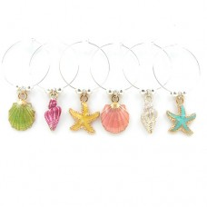Seashell and Starfish Wine Glass Charms