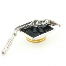 Enamel and Silver Mortar Board Charm