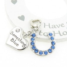 Crystal Heart and Blue Horseshoe Garter Charm