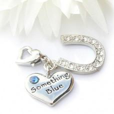 Something Blue Heart and Horseshoe Garter Charm