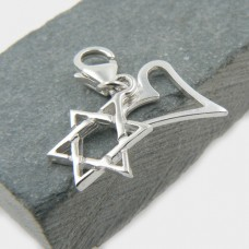Sterling Silver Star of David and Heart Charm