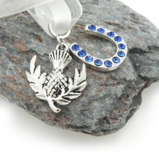 Scottish Thistle and Horseshoe Bouquet Charm
