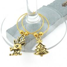 Vintage Gold Christmas Wine Glass Charms - Set of 6