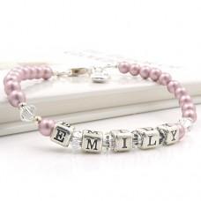 Vintage Rose Pearl Name Bracelet
