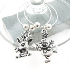 Vintage Silver Christmas Wine Glass Charms - Set of 6