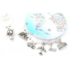 World Travel Wine Glass Charms - Set of 6
