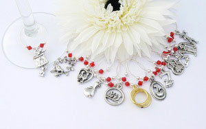 12 Days of Christmas Wine Charms with Red Crystals