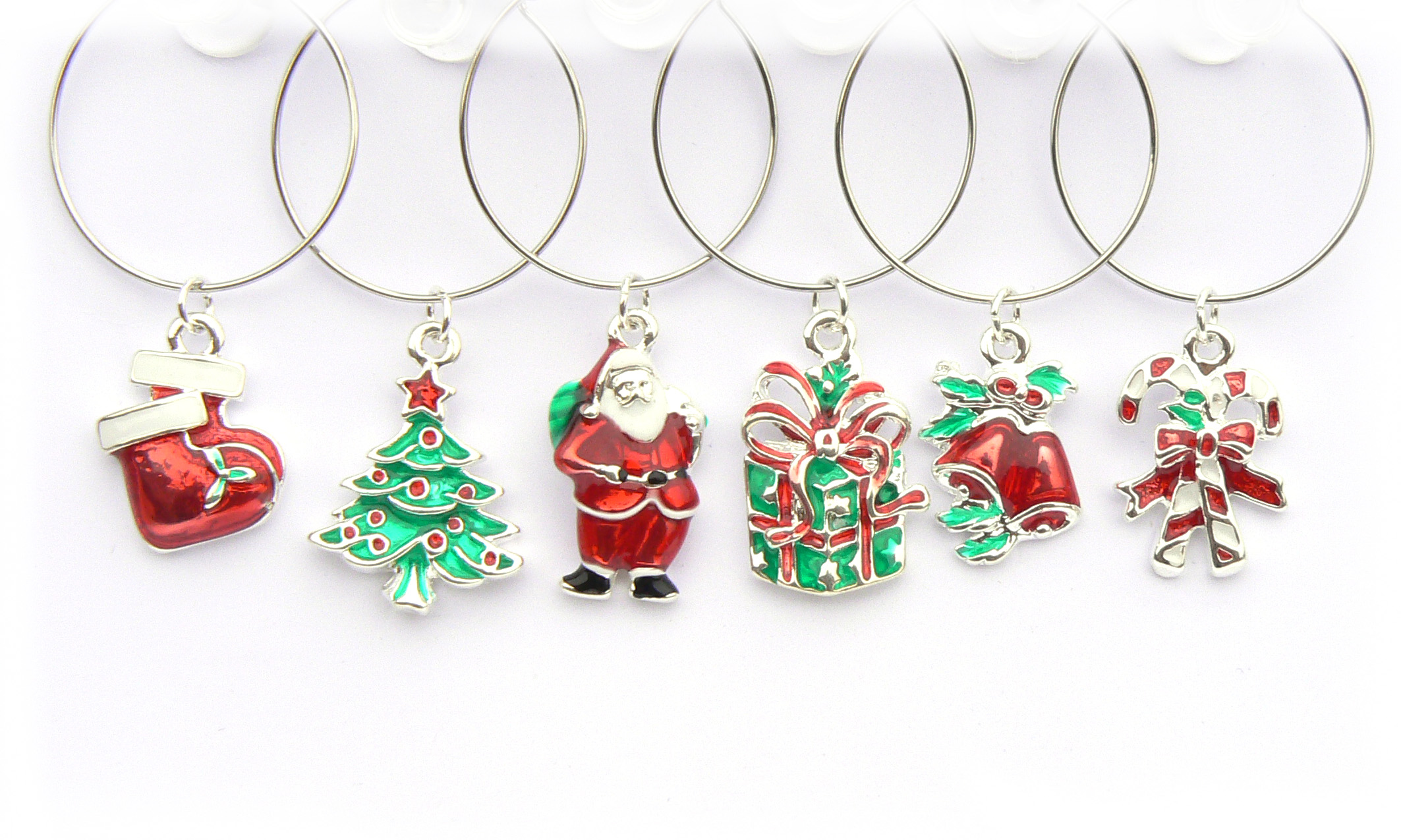 Enamel and Silver Christmas Wine Glass Charms