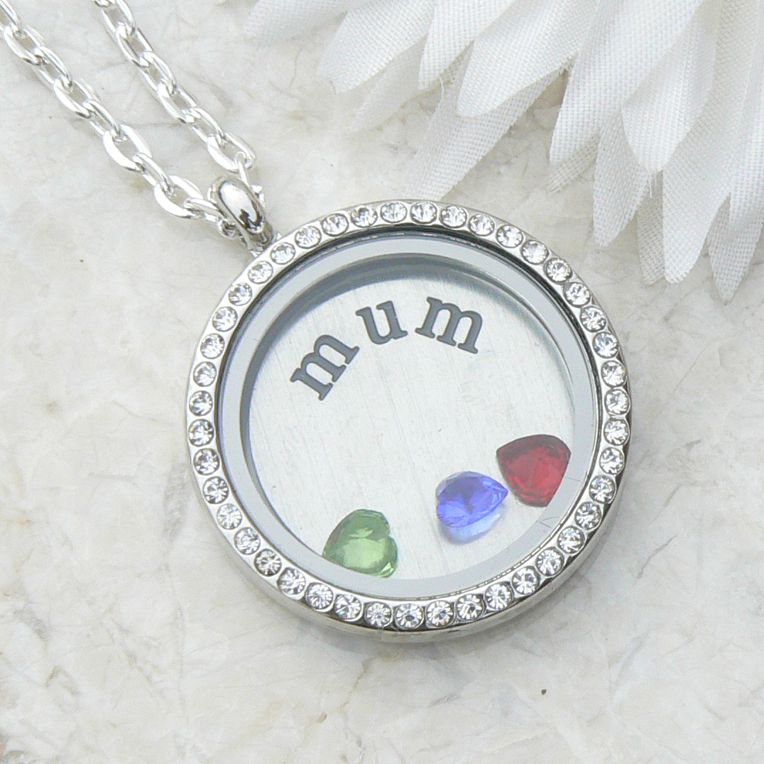 Mum Floating Locket Necklace with a Crystal Heart for each child