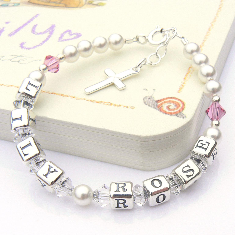 Two Name Christening Bracelet with Swarovski Crystals