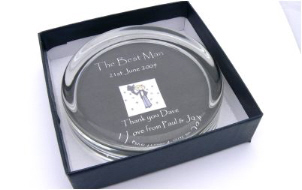 Glass Paper Weight Personalised Best Man Thank You Gift