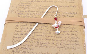 Cocktail Glass Charm Decorated Bookmark