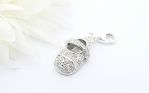 Crystal Baby Shoe Charm - Sterling Silver Charm for Bracelets