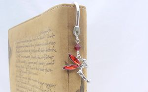 red tinkerbell fairy charm bookmark