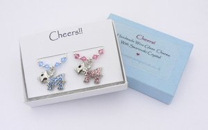 crystal dog wine glass charms