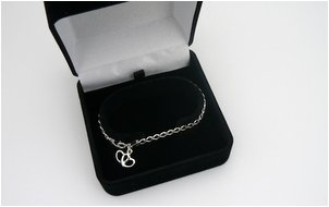 personalised gift silver bracelet in a box