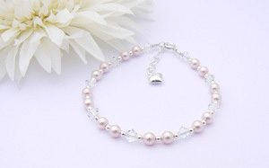 Childrens Eid Gift - Sterling Silver, Pearl and Crystal Bracelet