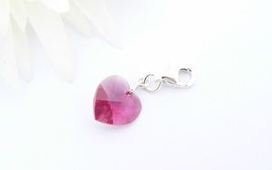 Fuchsia Crystal Heart Charm - Sterling Silver Bail and Clasp