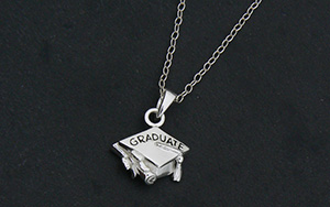 graduation motar board cap charm necklace