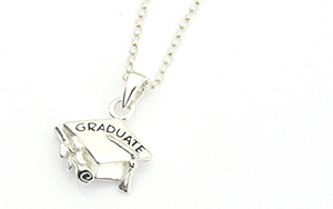 Graduation Charm Necklace - Sterling Silver Mortar Board