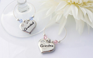 Grandma and Grandad Anniversary Gift Wine Glass Charms