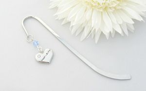 Grooms Mother Heart Charm Decorated Bookmark