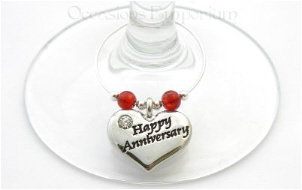 Happy Anniversary Gift Wine Glass Charm