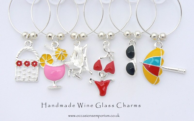 Enamel Wine Glass Charms Beach Babe Wine Glass Charms