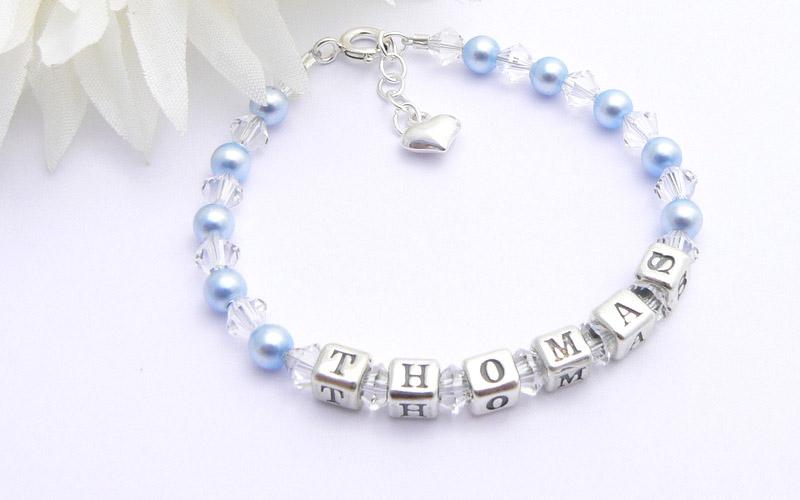 Boys Christening Present Personalised Name Bracelet