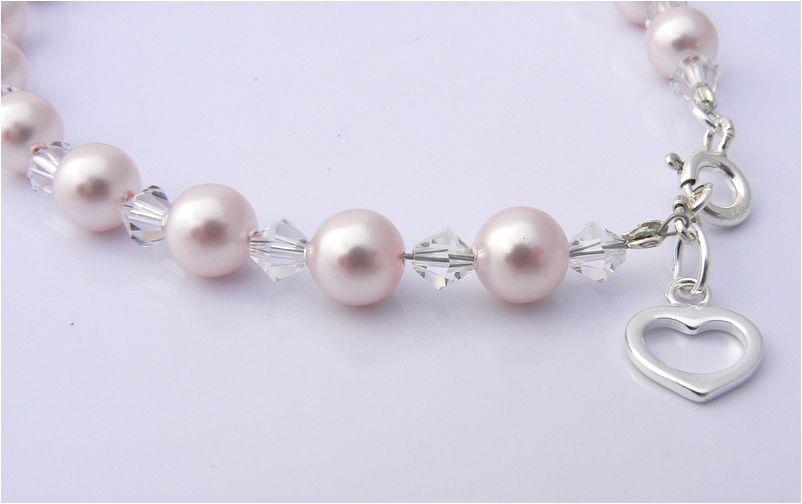 wedding bridal jewellery pearl and crystal charm bracelet