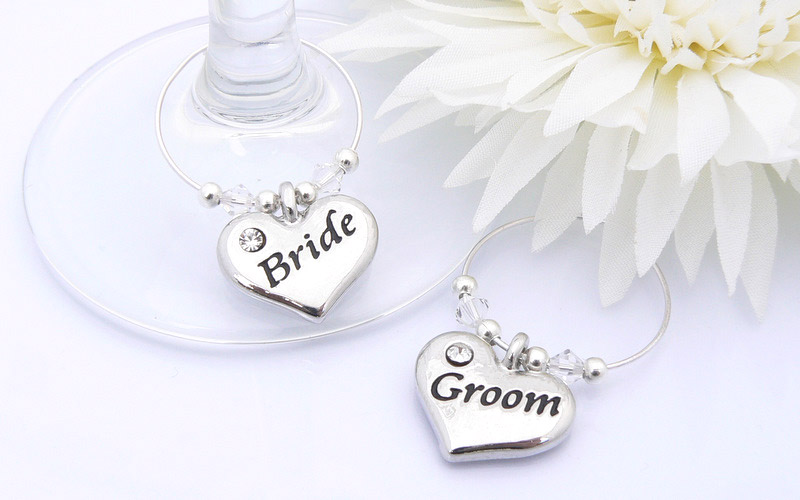 wedding gift for bride and groom on Bride And Groom Wine Glass Charms   Personalised Wedding Gift